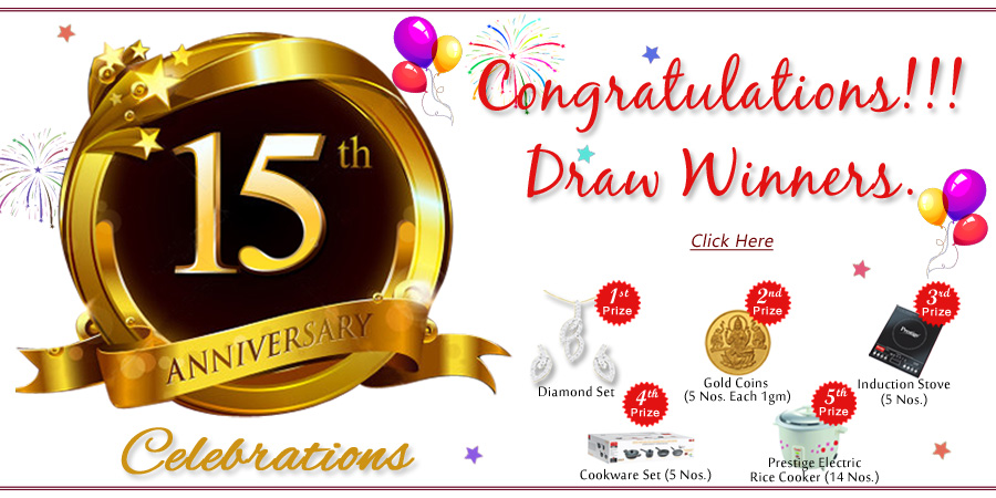 15th Anniversary Draw Winners