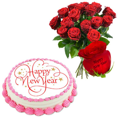 talking roses print on rose 18 red roses happy new year cake