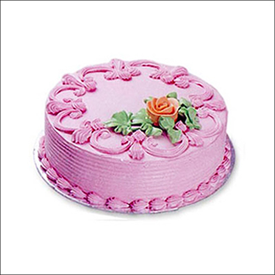 Send Delicious Round Shape Straw Berry Cake 1kg To India