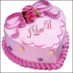 Valentine Special Heart In Pink Cake