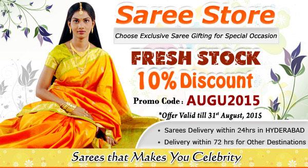 10% Discount on Sarees