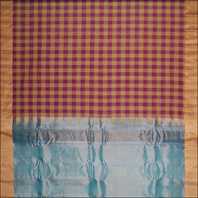 Gadwal Seico Plain Checks saree - SMHG-12 (with Blouse) - Click here to View more details about this Product