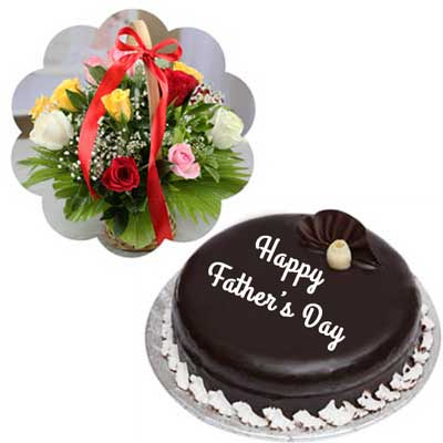 Send Surprise Cake And Flowers Gifts For Dad To Hyderabad Bangalore