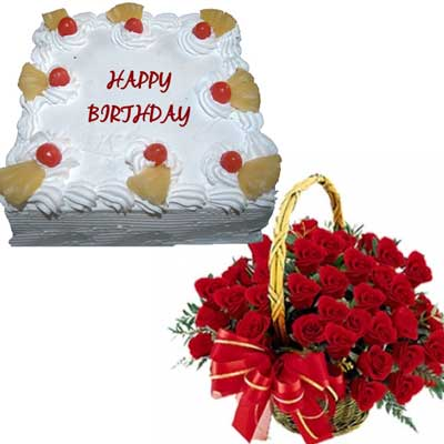 Send Midnight Cakes And Flower Gifts To Hyderabad Vizag - Birthday cake n flowers