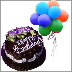 Send Blown Balloons With Cake Gifts To Hyderabad Bangalore India