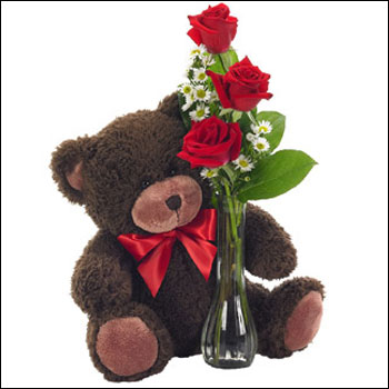 Classic Bud Vase Roses With Bear Bf112 11kl Send